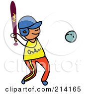 Royalty Free RF Clipart Illustration Of A Childs Sketch Of A Boy Playing Baseball