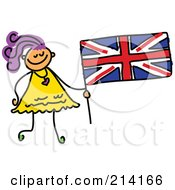 Royalty Free RF Clipart Illustration Of A Childs Sketch Of A Girl Holding A British Flag