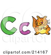 Royalty Free RF Clipart Illustration Of A Childs Sketch Of Capital And Lowercase Cs And A Cat