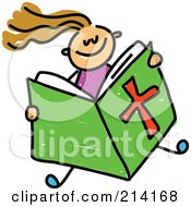 Royalty Free RF Clipart Illustration Of A Childs Sketch Of A Girl Reading A Bible by Prawny