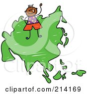 Royalty Free RF Clipart Illustration Of A Childs Sketch Of A Happy Asian Boy On A Map Of Asia
