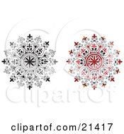 Clipart Illustration Of A Two Ornamental Circular Designs With Floral Accents One Red One In Black And White Over A White Background
