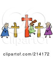 Royalty Free RF Clipart Illustration Of A Childs Sketch Of Calvary Kids by Prawny