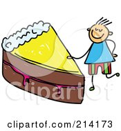 Royalty Free RF Clipart Illustration Of A Childs Sketch Of A Boy With A Slice Of Cake by Prawny