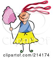 Royalty Free RF Clipart Illustration Of A Childs Sketch Of A Girl With Cotton Candy by Prawny