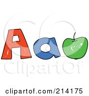Royalty Free RF Clipart Illustration Of A Childs Sketch Of Childs Sketch Of Capital And Lowercase Letter As And An Apple by Prawny