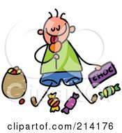 Royalty Free RF Clipart Illustration Of A Childs Sketch Of A Boy Eating Candy by Prawny