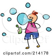 Royalty Free RF Clipart Illustration Of A Childs Sketch Of A Boy Blowing Bubbles by Prawny