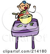 Royalty Free RF Clipart Illustration Of A Childs Sketch Of Childs Sketch Of A Baby Boy Eating Food