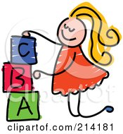 Royalty Free RF Clipart Illustration Of A Childs Sketch Of A Girl Stacking Letter Blocks by Prawny