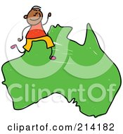 Royalty Free RF Clipart Illustration Of A Childs Sketch Of A Happy Australian Boy On A Map by Prawny