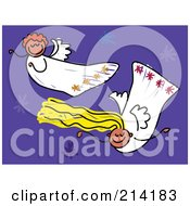 Royalty Free RF Clipart Illustration Of A Childs Sketch Of Two Flying Angels