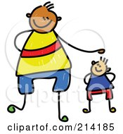 Royalty Free RF Clipart Illustration Of A Childs Sketch Of A Father And Son