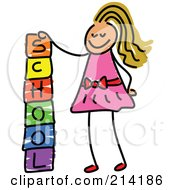 Royalty Free RF Clipart Illustration Of A Childs Sketch Of A Girl Stacking School Blocks