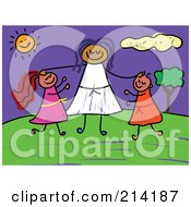 Royalty Free RF Clipart Illustration Of A Childs Sketch Of A Woman And Two Kids
