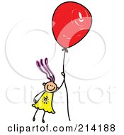 Royalty Free RF Clipart Illustration Of A Childs Sketch Of A Girl Floating Away With A Balloon by Prawny