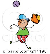 Royalty Free RF Clipart Illustration Of A Childs Sketch Of A Boy Catching A Baseball