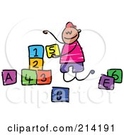 Royalty Free RF Clipart Illustration Of A Childs Sketch Of A Boy Playing With Letter And Number Blocks by Prawny