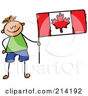 Childs Sketch Of A Canadian Boy With A Flag