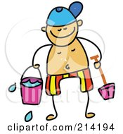 Royalty Free RF Clipart Illustration Of A Childs Sketch Of Childs Sketch Of A Boy Holding Beach Toys by Prawny