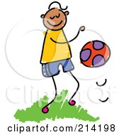 Royalty Free RF Clipart Illustration Of A Childs Sketch Of A Boy Bouncing A Ball by Prawny