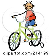 Royalty Free RF Clipart Illustration Of A Childs Sketch Of Childs Sketch Of A Boy Riding A Bike