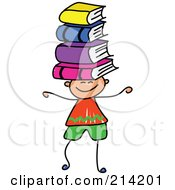 Royalty Free RF Clipart Illustration Of A Childs Sketch Of A Boy Balancing Books On His Head by Prawny