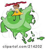 Royalty Free RF Clipart Illustration Of A Childs Sketch Of A Happy Asian Girl On A Map Of Asia