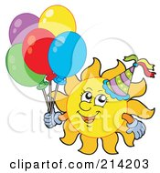 Royalty Free RF Clipart Illustration Of A Summer Sun Wearing A Party Hat And Holding Balloons