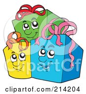 Royalty Free RF Clipart Illustration Of A Group Of Three Happy Gifts
