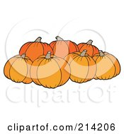 Royalty Free RF Clipart Illustration Of A Group Of Ripe Pumpkins
