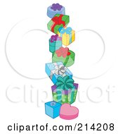 Royalty Free RF Clipart Illustration Of A Pile Of Birthday Presents 2