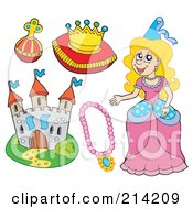 Royalty Free RF Clipart Illustration Of A Digital Collage Of A Princess And Royal Items