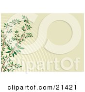 Clipart Illustration Of A Branch Of Green Leaves Over A Rippled Sage Background by Paulo Resende