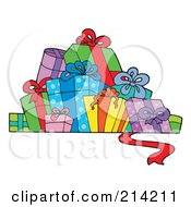 Royalty Free RF Clipart Illustration Of A Group Of Birthday Presents 2