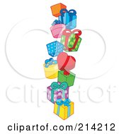 Royalty Free RF Clipart Illustration Of A Pile Of Birthday Presents 1