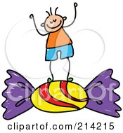 Royalty Free RF Clipart Illustration Of A Childs Sketch Of A Boy Standing On Candy