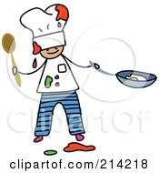 Royalty Free RF Clipart Illustration Of A Childs Sketch Of A Messy Chef Boy by Prawny