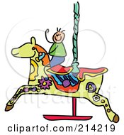 Royalty Free RF Clipart Illustration Of A Childs Sketch Of A Boy On A Carousel Horse by Prawny