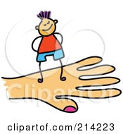 Royalty Free RF Clipart Illustration Of A Childs Sketch Of A Boy On A Hand
