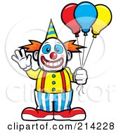 Friendly Waving Circus Clown Holding Balloons