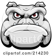 Royalty Free RF Clipart Illustration Of A Mean Bulldog Face With Red Eyes