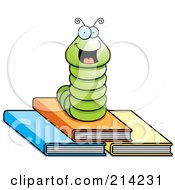 Happy Green Worm On Top Of Three Books