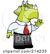 Royalty Free RF Clipart Illustration Of A Waving Business Triceratops Dinosaur In A Suit by Cory Thoman