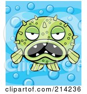 Royalty Free RF Clipart Illustration Of A Grumpy Green Blowfish On A Bubbly Blue Background by Cory Thoman