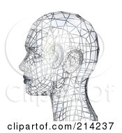 Royalty Free RF Clipart Illustration Of A 3d Silver Wire Head In Profile