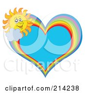 Royalty Free RF Clipart Illustration Of A Summer Sun And Rainbow Heart