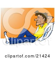 Clipart Illustration Of A Happy Man In Casual Clothes Resting His Back Against A Pillow And Holding His Arm Up Behind His Head And Smiling While Relaxing