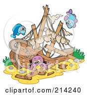Royalty Free RF Clipart Illustration Of A Fish And An Octopus By A Sunken Ship