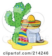 Royalty Free RF Clipart Illustration Of A Mexican Man Resting By A Cactus by visekart